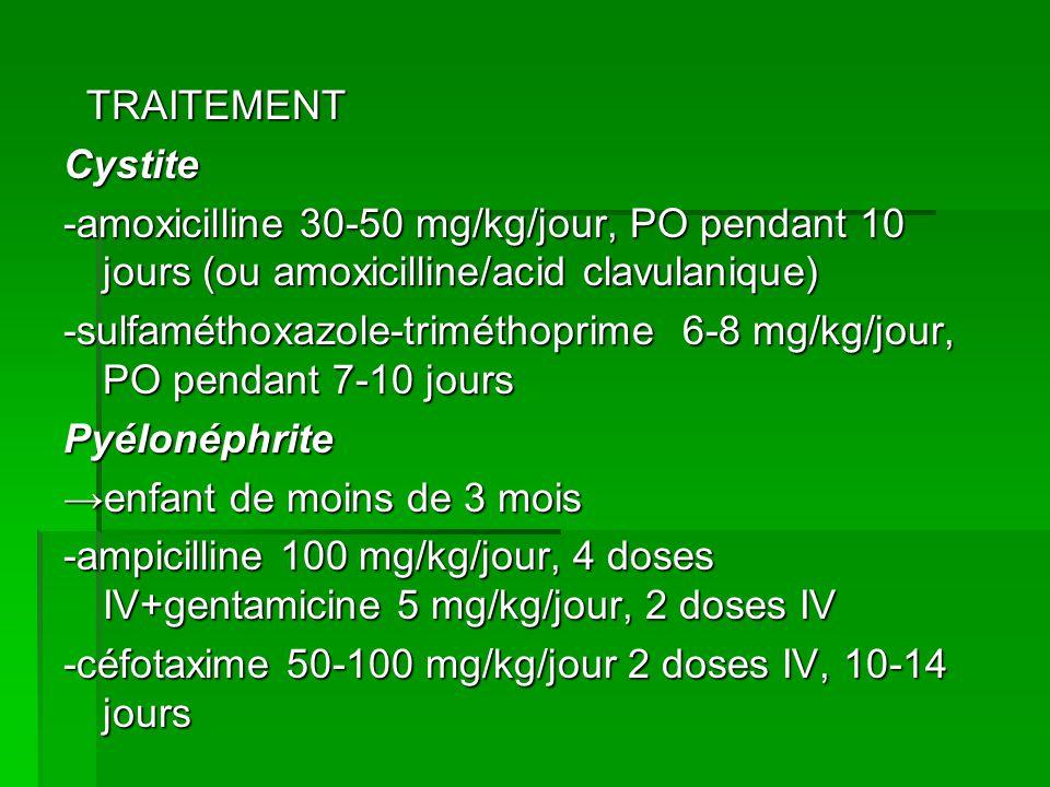 -sulfaméthoxazole-triméthoprime 6-8 mg/kg/jour, PO pendant 7-10 jours