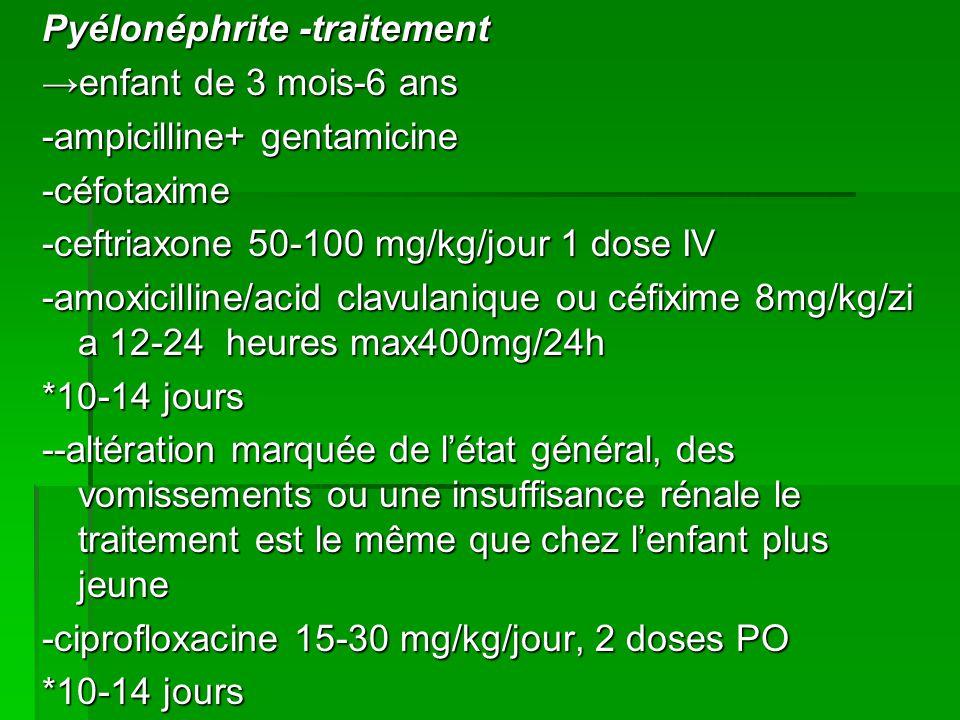 Pyélonéphrite -traitement →enfant de 3 mois-6 ans -ampicilline+ gentamicine -céfotaxime -ceftriaxone 50-100 mg/kg/jour 1 dose IV -amoxicilline/acid clavulanique ou céfixime 8mg/kg/zi a 12-24 heures max400mg/24h *10-14 jours --altération marquée de l'état général, des vomissements ou une insuffisance rénale le traitement est le même que chez l'enfant plus jeune -ciprofloxacine 15-30 mg/kg/jour, 2 doses PO
