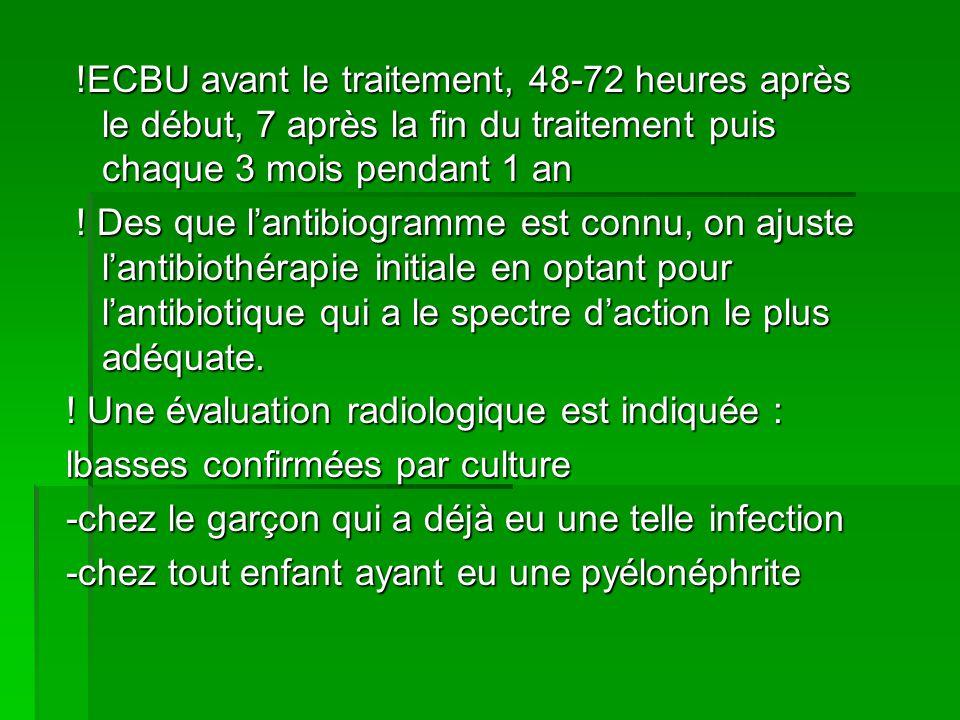 !ECBU avant le traitement, 48-72 heures après le début, 7 après la fin du traitement puis chaque 3 mois pendant 1 an