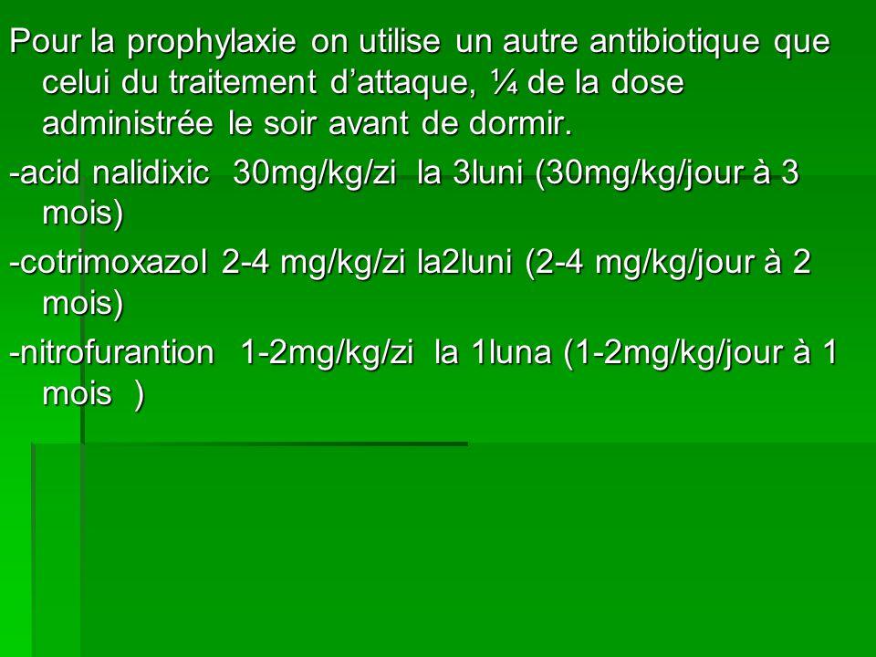 Pour la prophylaxie on utilise un autre antibiotique que celui du traitement d'attaque, ¼ de la dose administrée le soir avant de dormir.
