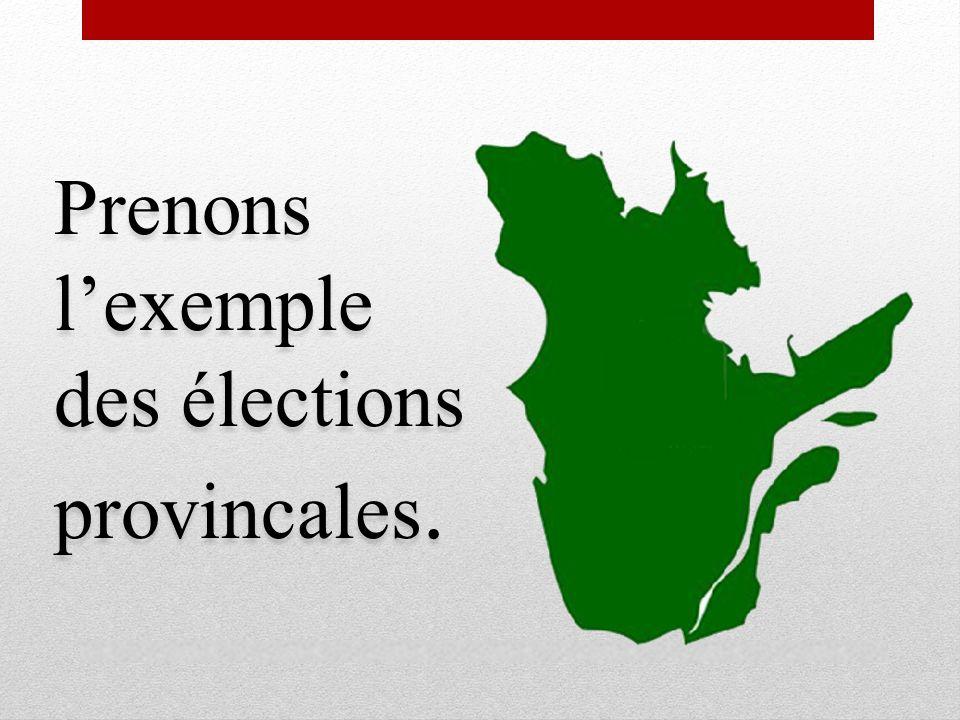 Prenons l'exemple des élections provincales.