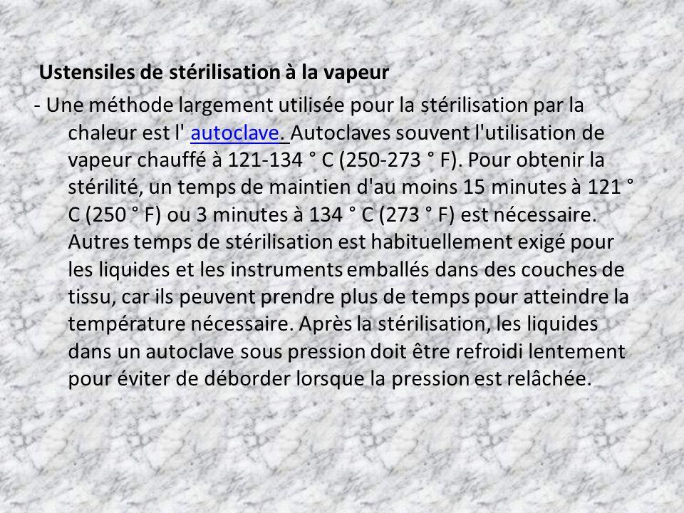 Ustensiles de stérilisation à la vapeur - Une méthode largement utilisée pour la stérilisation par la chaleur est l autoclave.