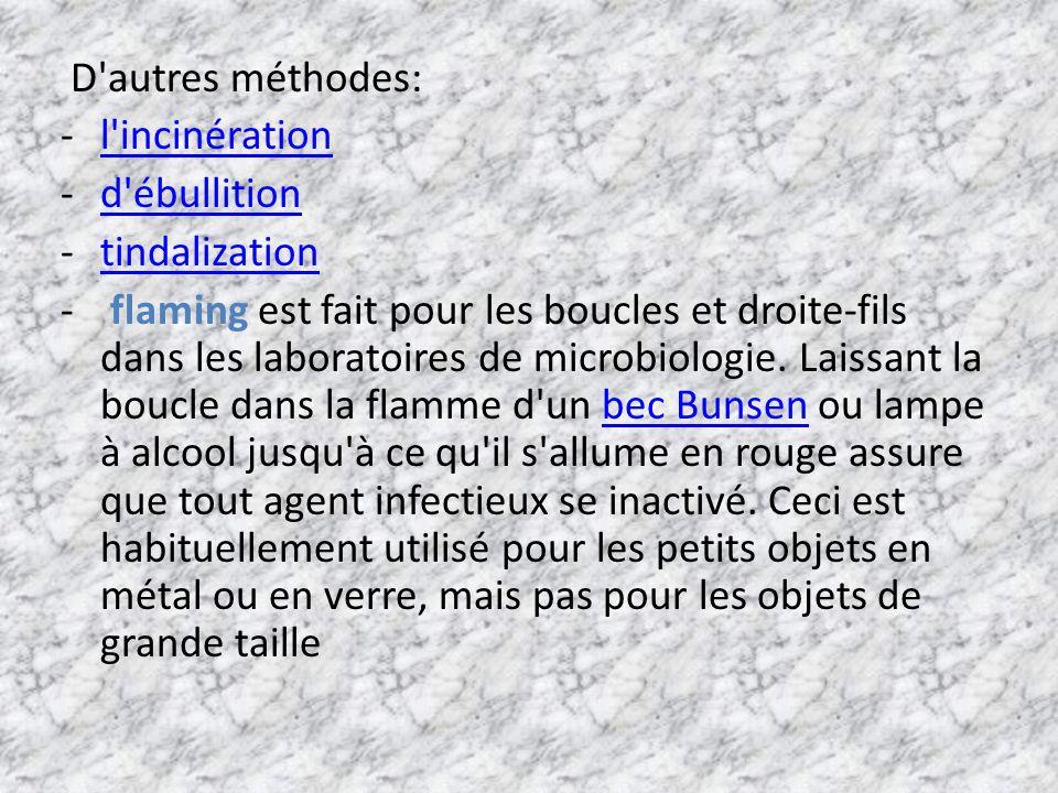 D autres méthodes: l incinération. d ébullition. tindalization.
