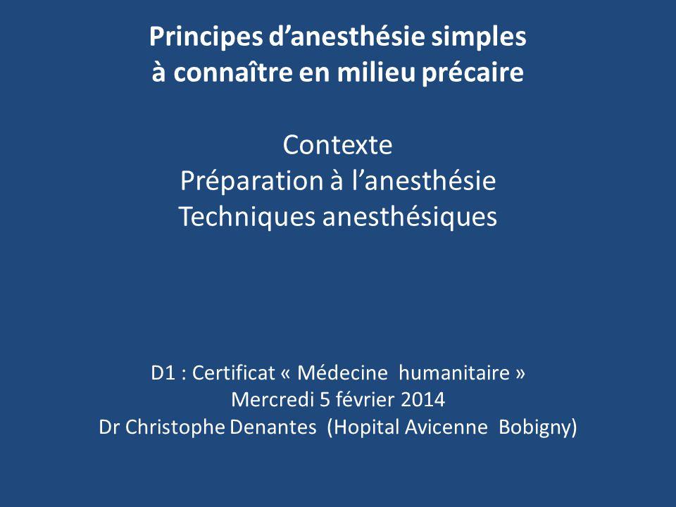 Principes d'anesthésie simples à connaître en milieu précaire Contexte Préparation à l'anesthésie Techniques anesthésiques