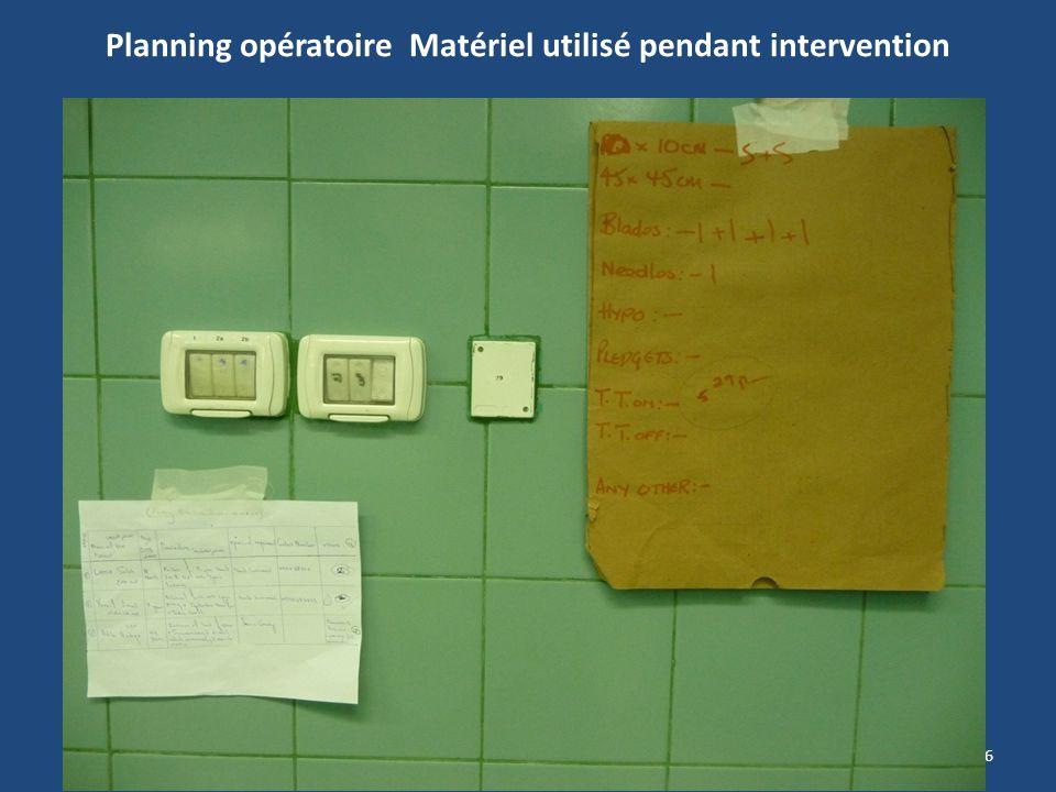 Planning opératoire Matériel utilisé pendant intervention