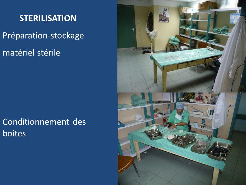 STERILISATION Préparation-stockage matériel stérile Conditionnement des boites