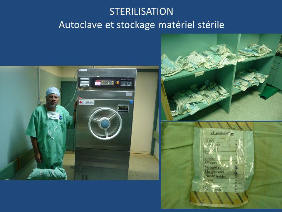 STERILISATION Autoclave et stockage matériel stérile