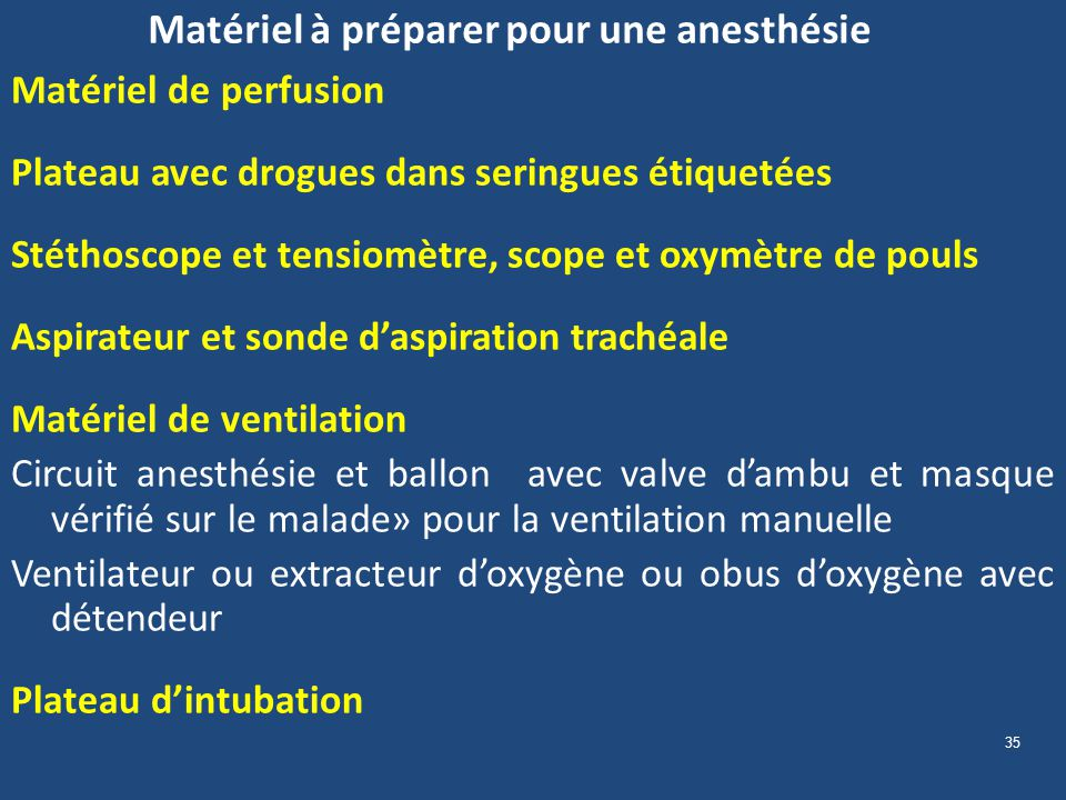 Matériel à préparer pour une anesthésie
