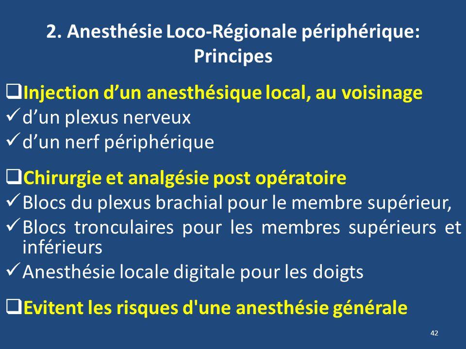 2. Anesthésie Loco-Régionale périphérique: Principes