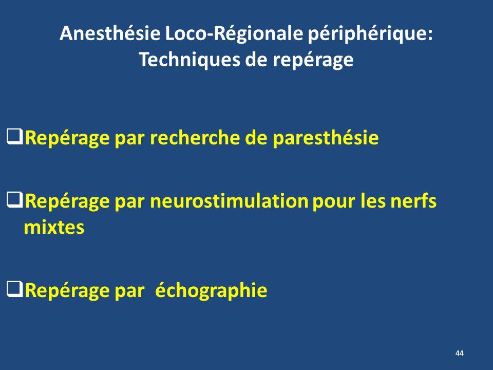 Anesthésie Loco-Régionale périphérique: Techniques de repérage