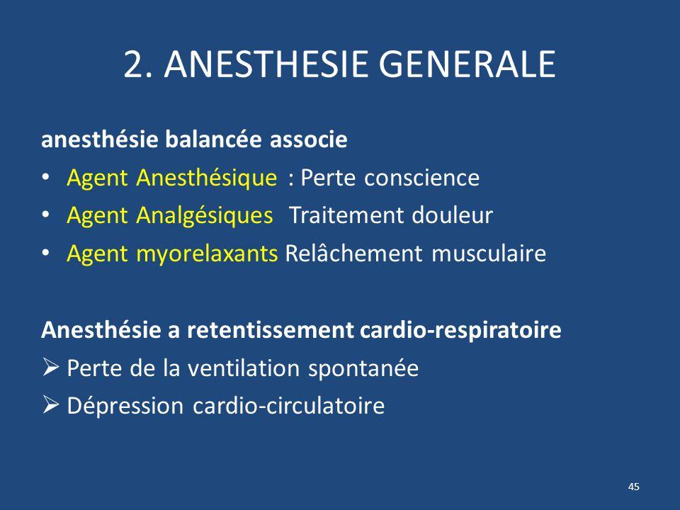 2. ANESTHESIE GENERALE anesthésie balancée associe