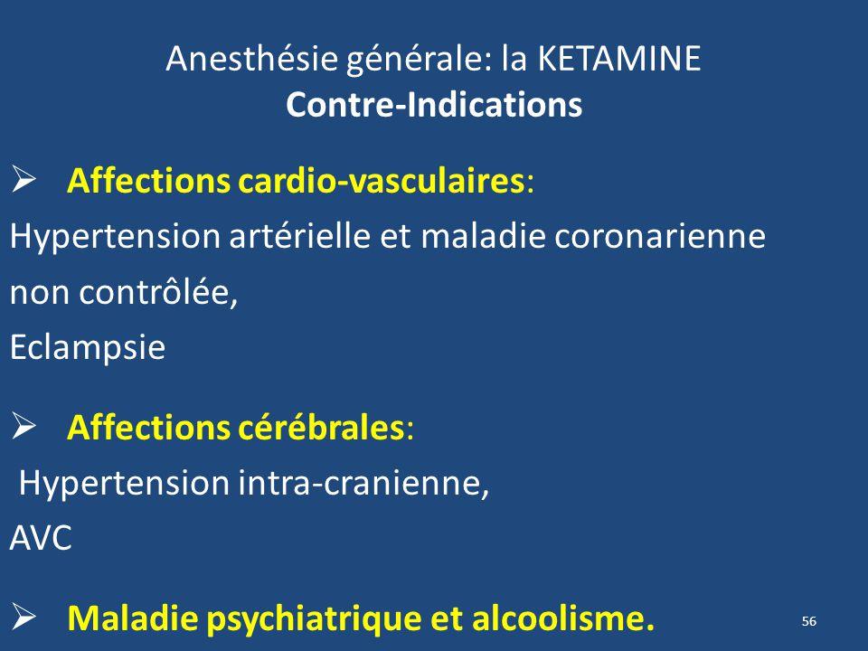Anesthésie générale: la KETAMINE Contre-Indications