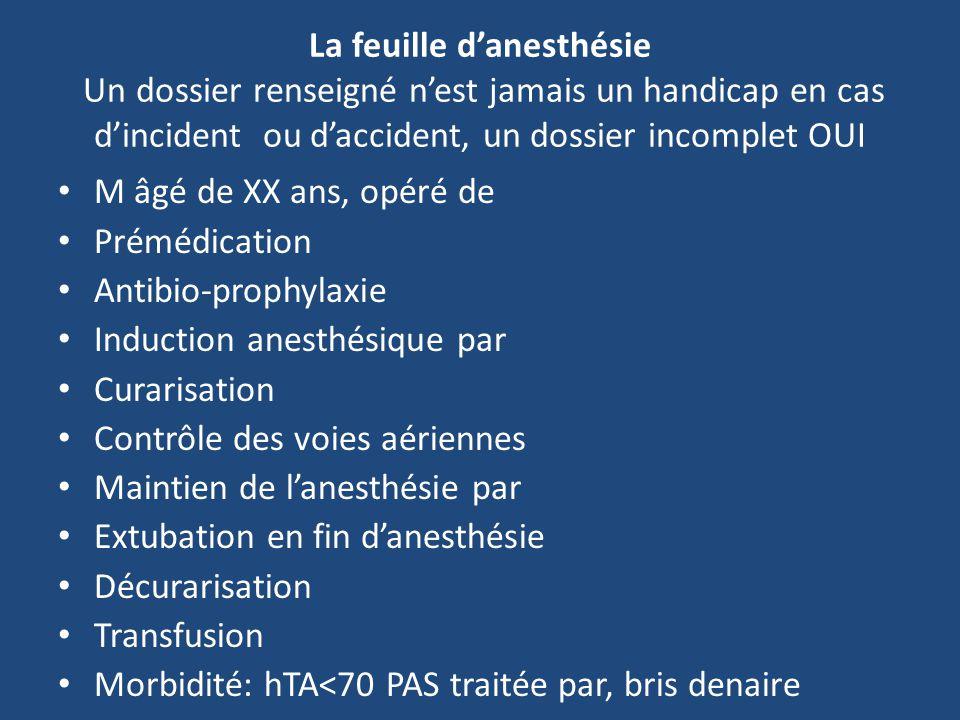 La feuille d'anesthésie Un dossier renseigné n'est jamais un handicap en cas d'incident ou d'accident, un dossier incomplet OUI
