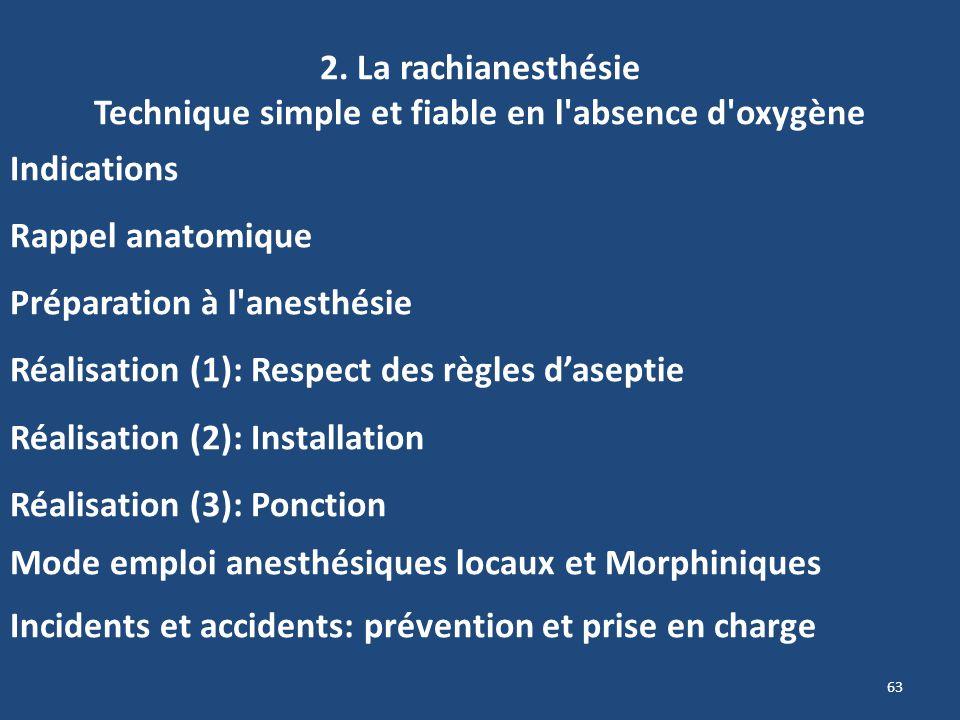 2. La rachianesthésie Technique simple et fiable en l absence d oxygène