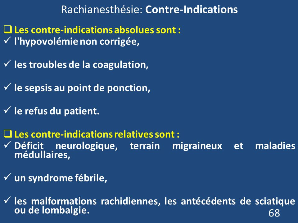 Rachianesthésie: Contre-Indications