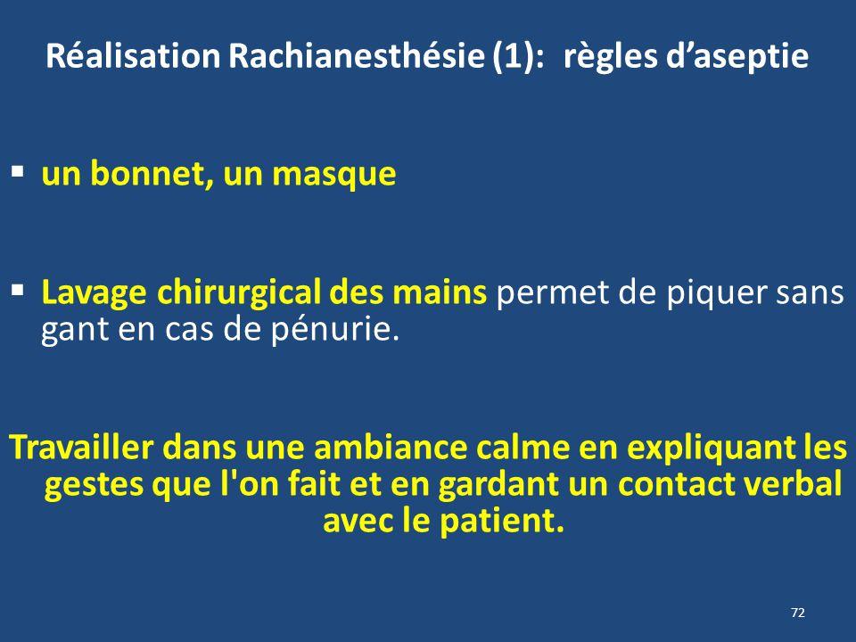 Réalisation Rachianesthésie (1): règles d'aseptie