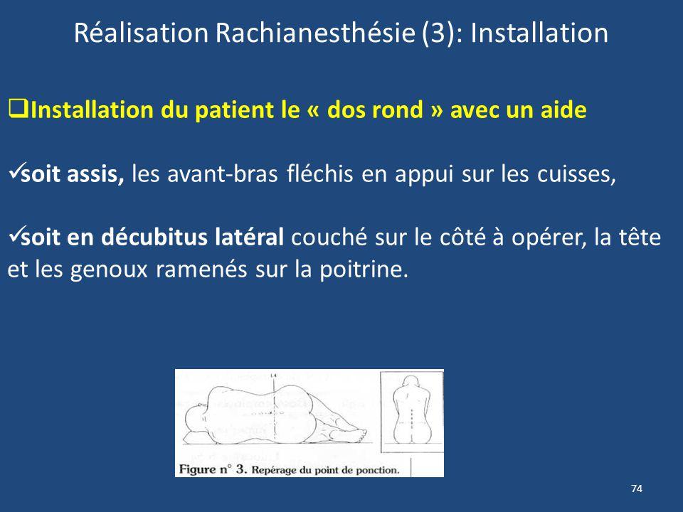 Réalisation Rachianesthésie (3): Installation
