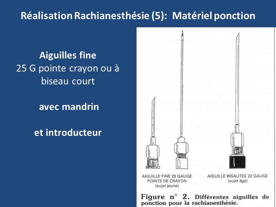 Réalisation Rachianesthésie (5): Matériel ponction