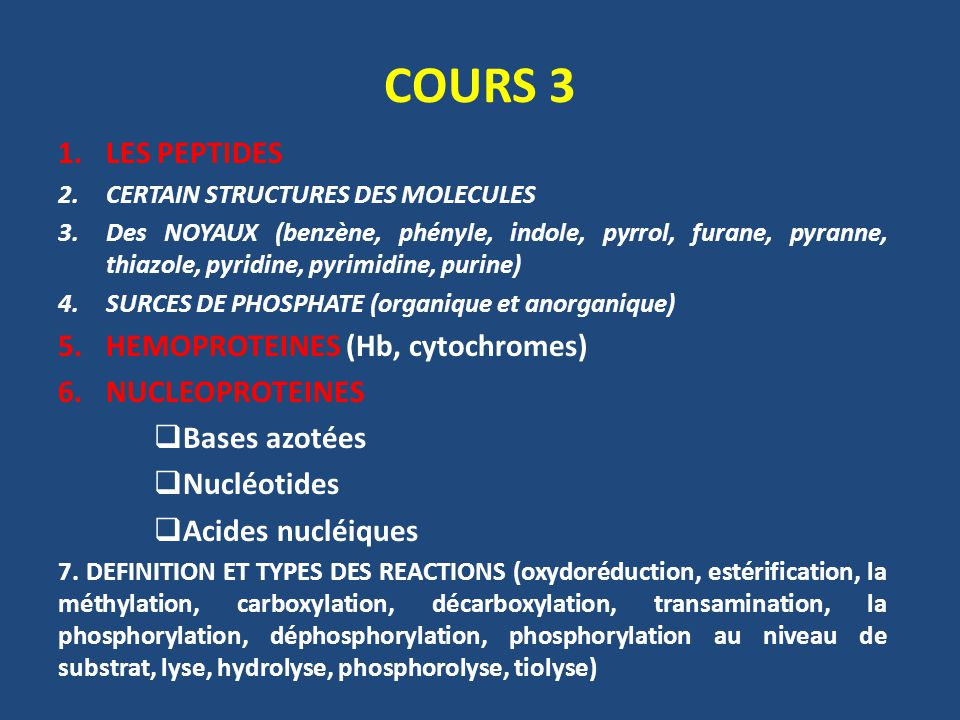 COURS 3 LES PEPTIDES HEMOPROTEINES (Hb, cytochromes) NUCLEOPROTEINES