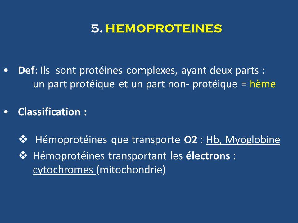 5. HEMOPROTEINES Def: Ils sont protéines complexes, ayant deux parts : un part protéique et un part non- protéique = hème.
