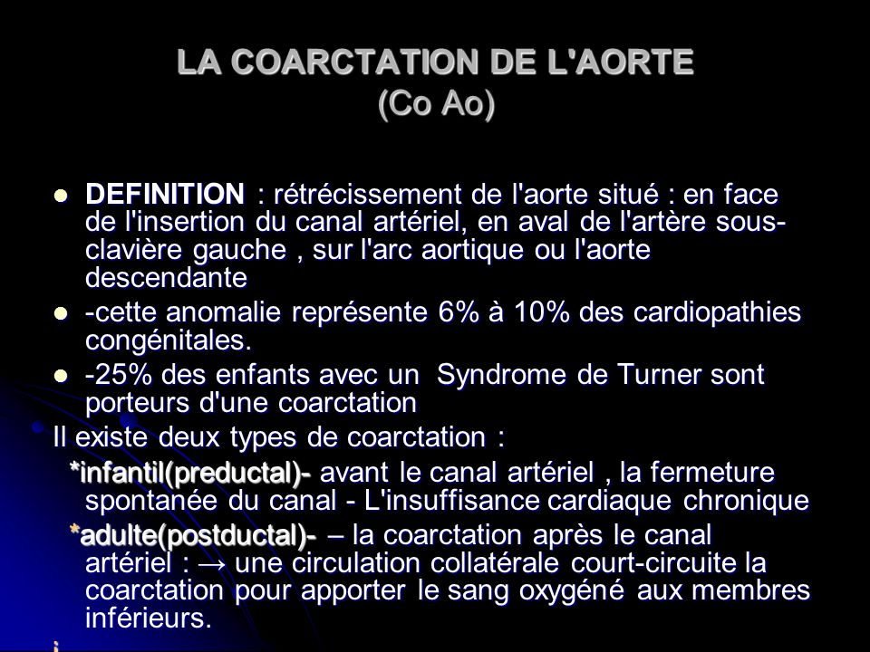 LA COARCTATION DE L AORTE (Co Ao)