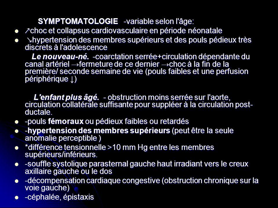 SYMPTOMATOLOGIE -variable selon l âge: