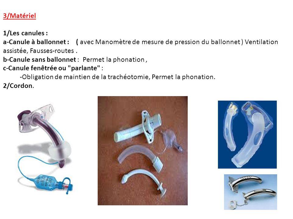 3/Matériel 1/Les canules : a-Canule à ballonnet : ( avec Manomètre de mesure de pression du ballonnet ) Ventilation.