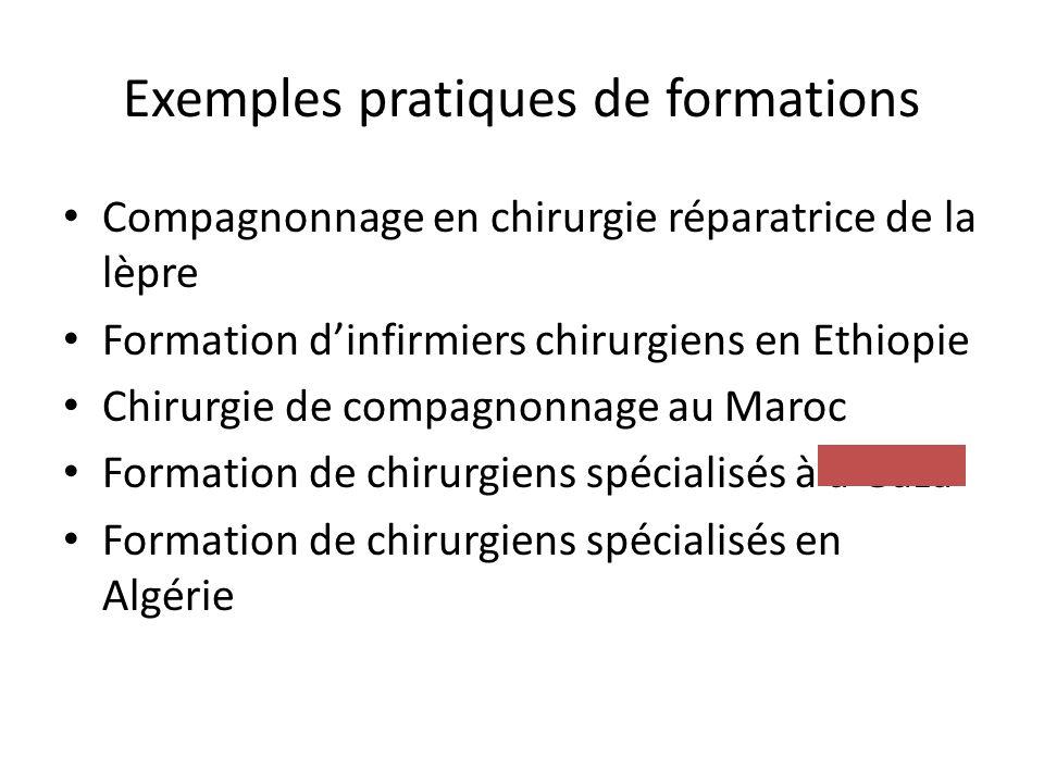 Exemples pratiques de formations