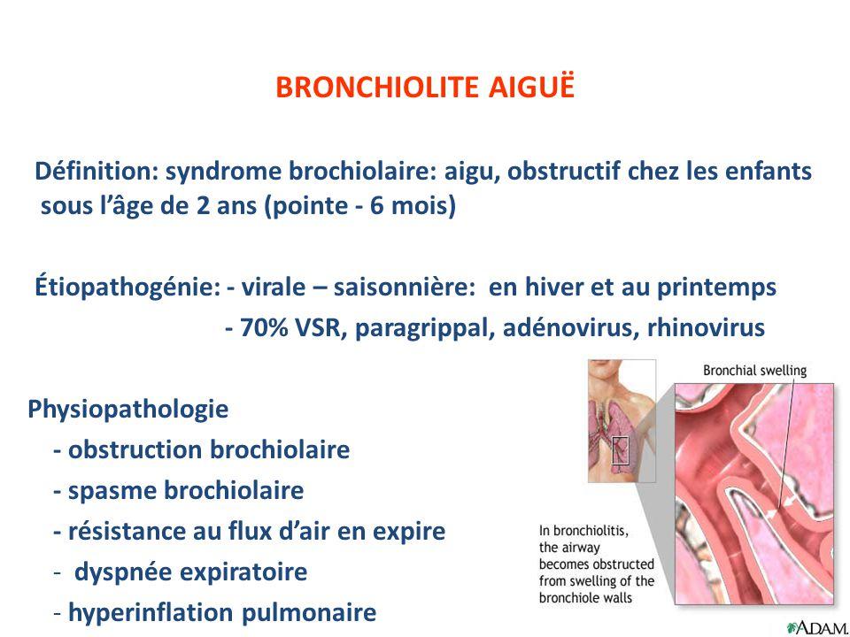 BRONCHIOLITE AIGUË Définition: syndrome brochiolaire: aigu, obstructif chez les enfants sous l'âge de 2 ans (pointe - 6 mois)