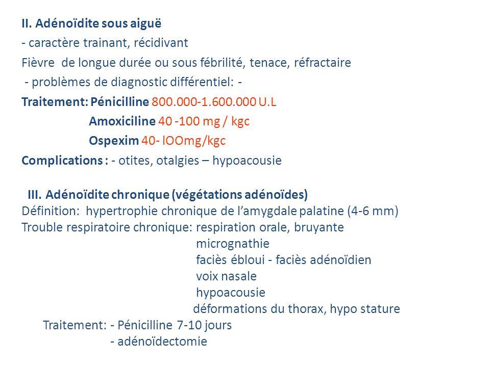 II. Adénoïdite sous aiguë - caractère trainant, récidivant Fièvre de longue durée ou sous fébrilité, tenace, réfractaire - problèmes de diagnostic différentiel: - TBC, ITU Traitement: Pénicilline 800.000-1.600.000 U.L Amoxiciline 40 -100 mg / kgc Ospexim 40- lOOmg/kgc Complications : - otites, otalgies – hypoacousie