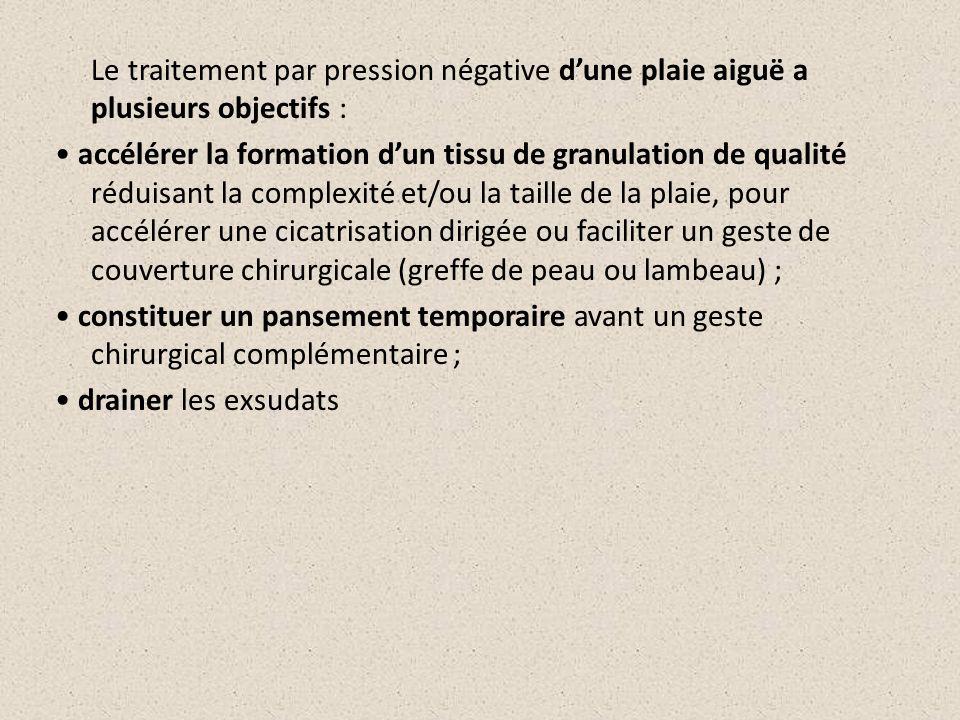 Le traitement par pression négative d'une plaie aiguë a plusieurs objectifs : • accélérer la formation d'un tissu de granulation de qualité réduisant la complexité et/ou la taille de la plaie, pour accélérer une cicatrisation dirigée ou faciliter un geste de couverture chirurgicale (greffe de peau ou lambeau) ; • constituer un pansement temporaire avant un geste chirurgical complémentaire ; • drainer les exsudats