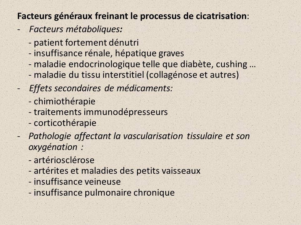 Facteurs généraux freinant le processus de cicatrisation: