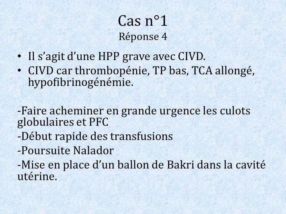 Cas n°1 Réponse 4 Il s'agit d'une HPP grave avec CIVD.