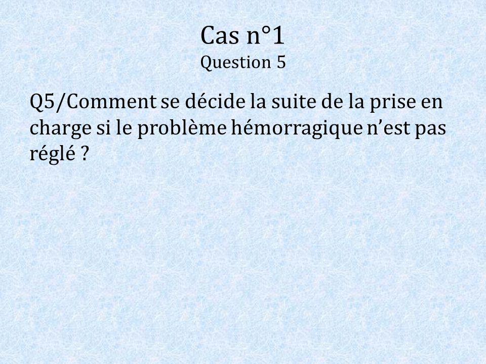 Cas n°1 Question 5 Q5/Comment se décide la suite de la prise en charge si le problème hémorragique n'est pas réglé
