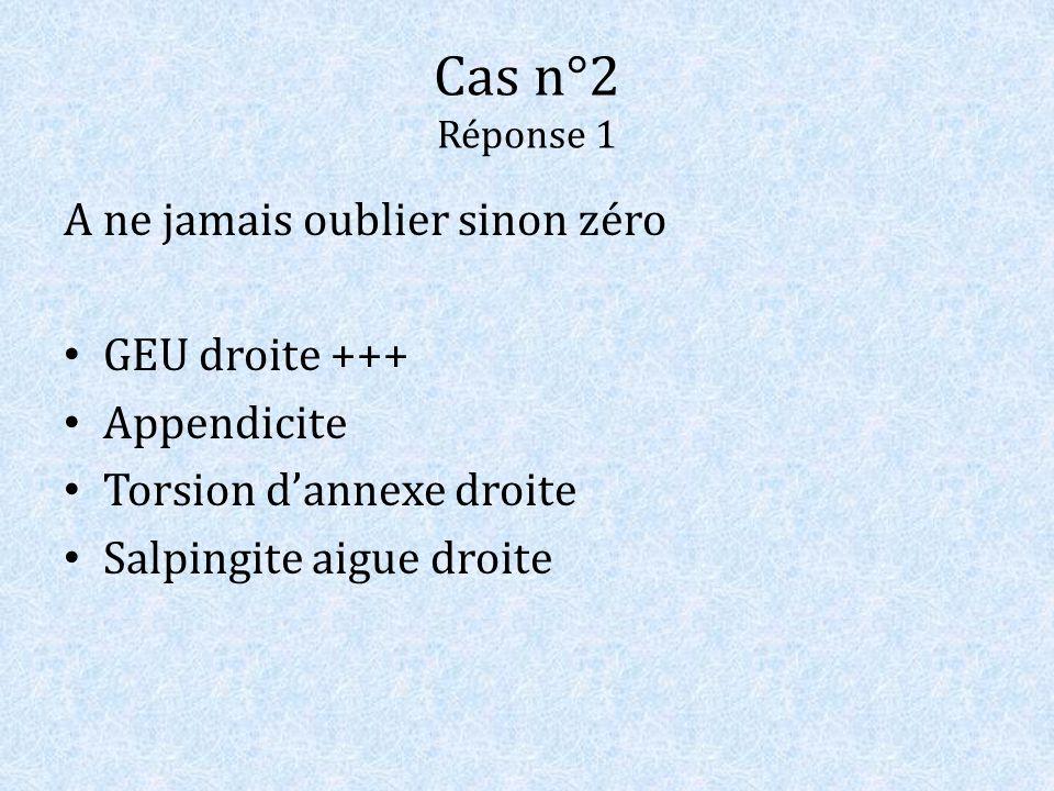Cas n°2 Réponse 1 A ne jamais oublier sinon zéro GEU droite +++