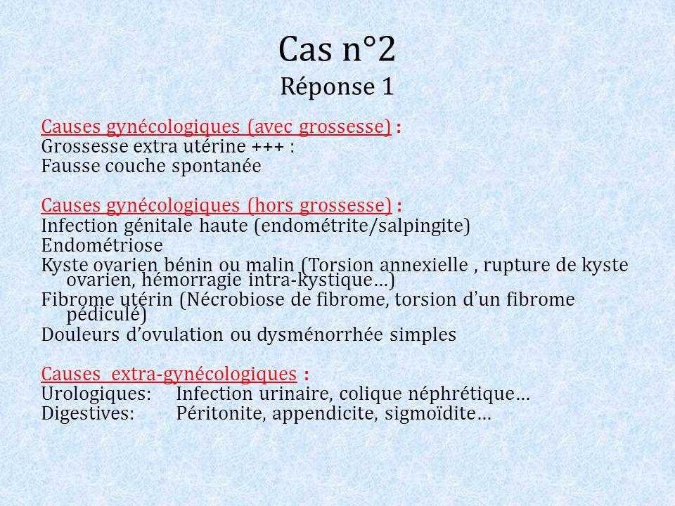 Cas n°2 Réponse 1 Causes gynécologiques (avec grossesse) :