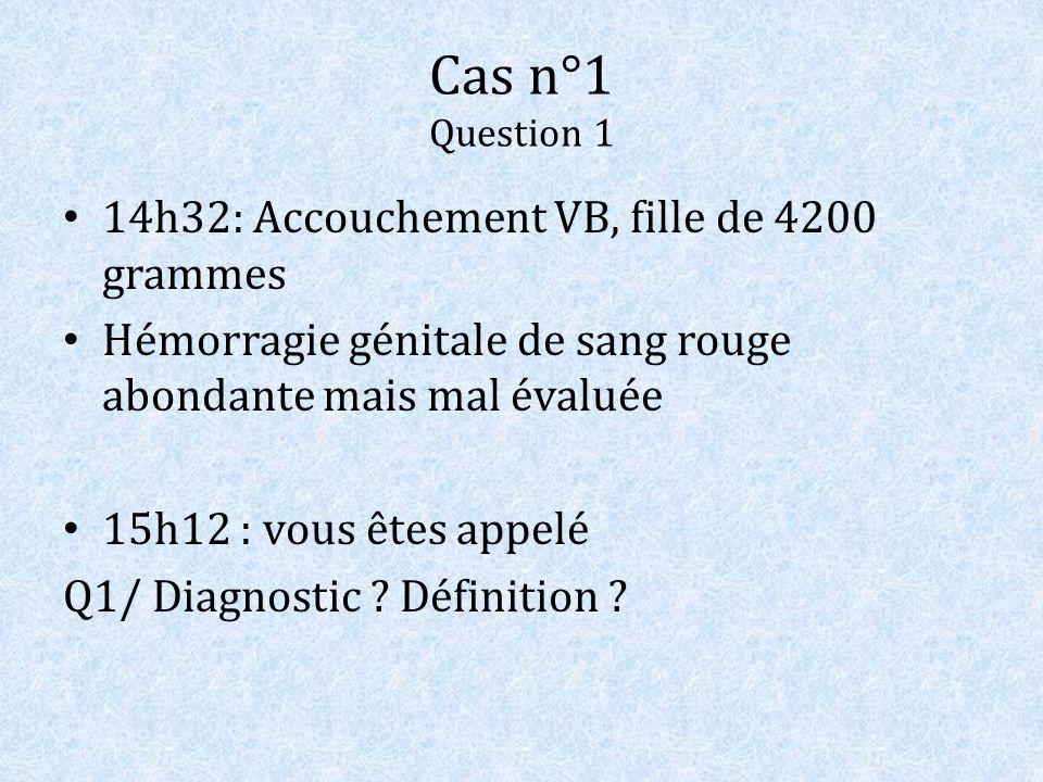Cas n°1 Question 1 14h32: Accouchement VB, fille de 4200 grammes