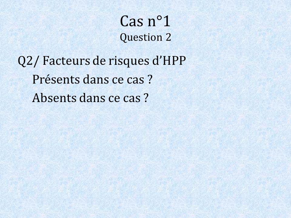 Cas n°1 Question 2 Q2/ Facteurs de risques d'HPP