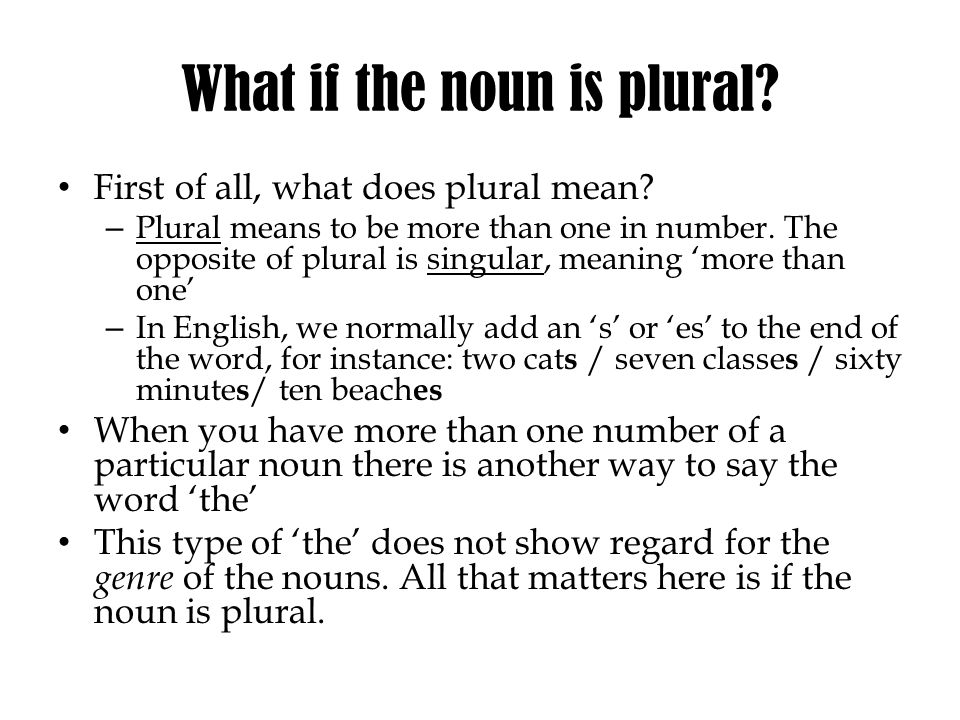 What if the noun is plural