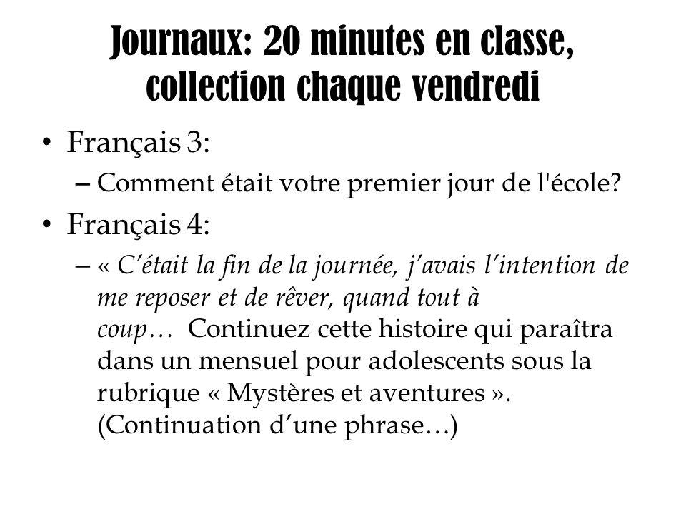 Journaux: 20 minutes en classe, collection chaque vendredi
