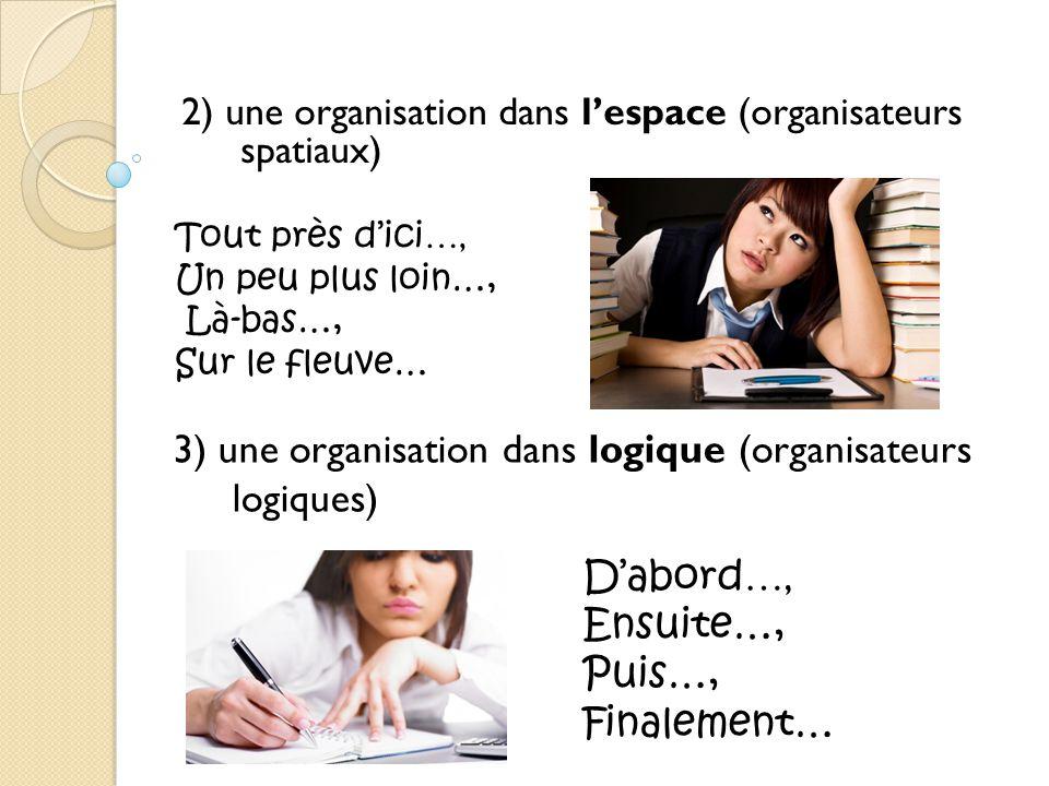 3) une organisation dans logique (organisateurs logiques)