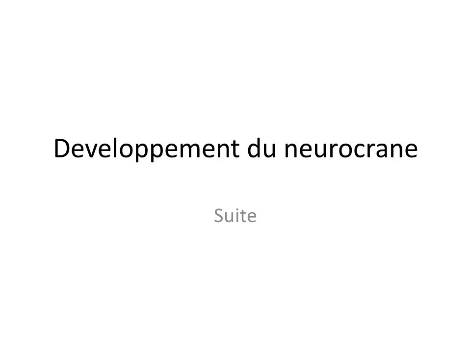 Developpement du neurocrane