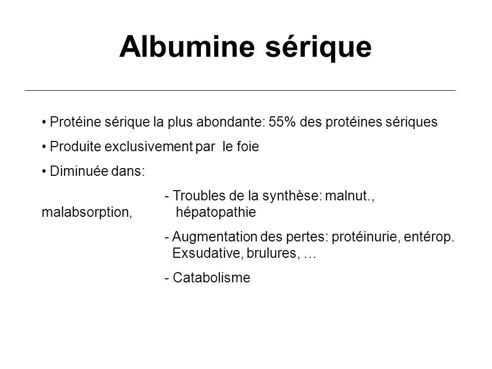 Albumine sérique Protéine sérique la plus abondante: 55% des protéines sériques. Produite exclusivement par le foie.