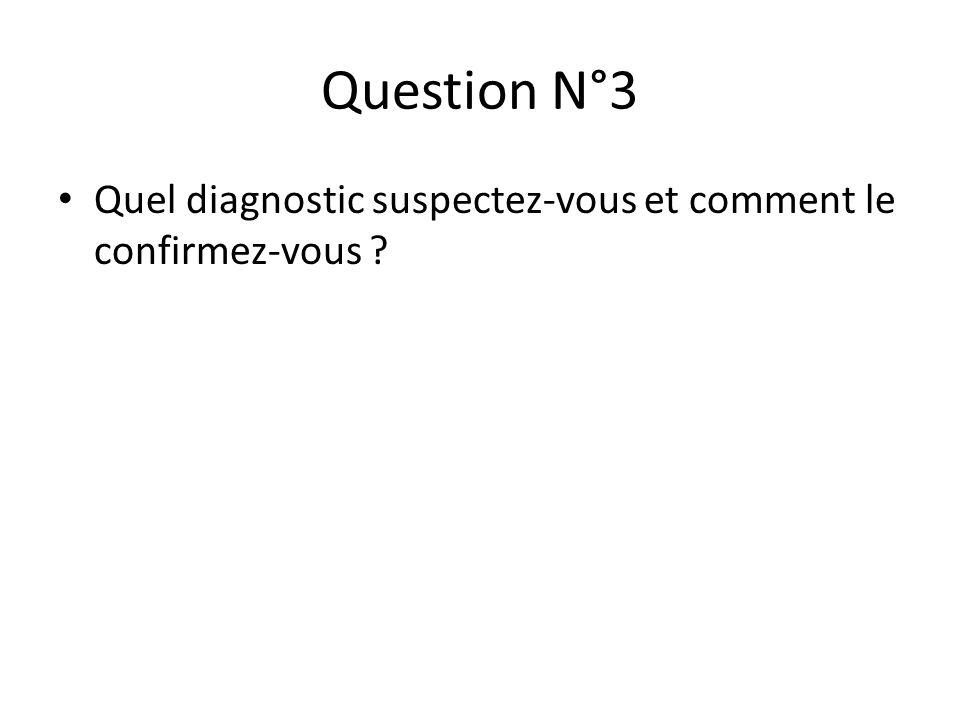 Question N°3 Quel diagnostic suspectez-vous et comment le confirmez-vous