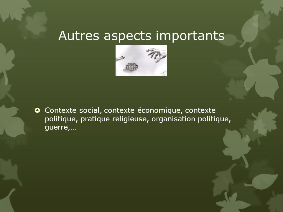 Autres aspects importants