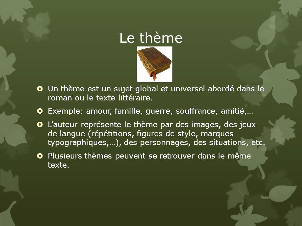 Le thème Un thème est un sujet global et universel abordé dans le roman ou le texte littéraire.