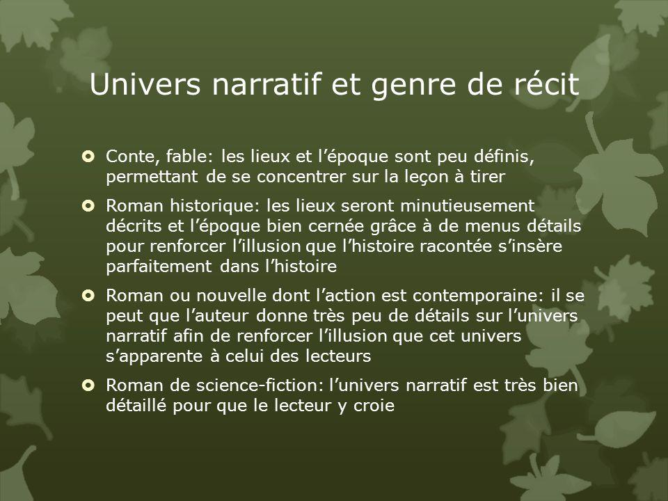 Univers narratif et genre de récit
