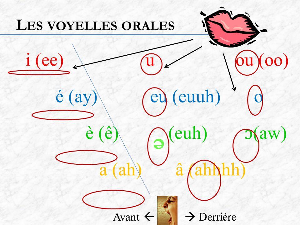 i (ee) u ou (oo) é (ay) eu (euuh) o è (ê) (euh) ɔ(aw) a (ah) â (ahhhh)