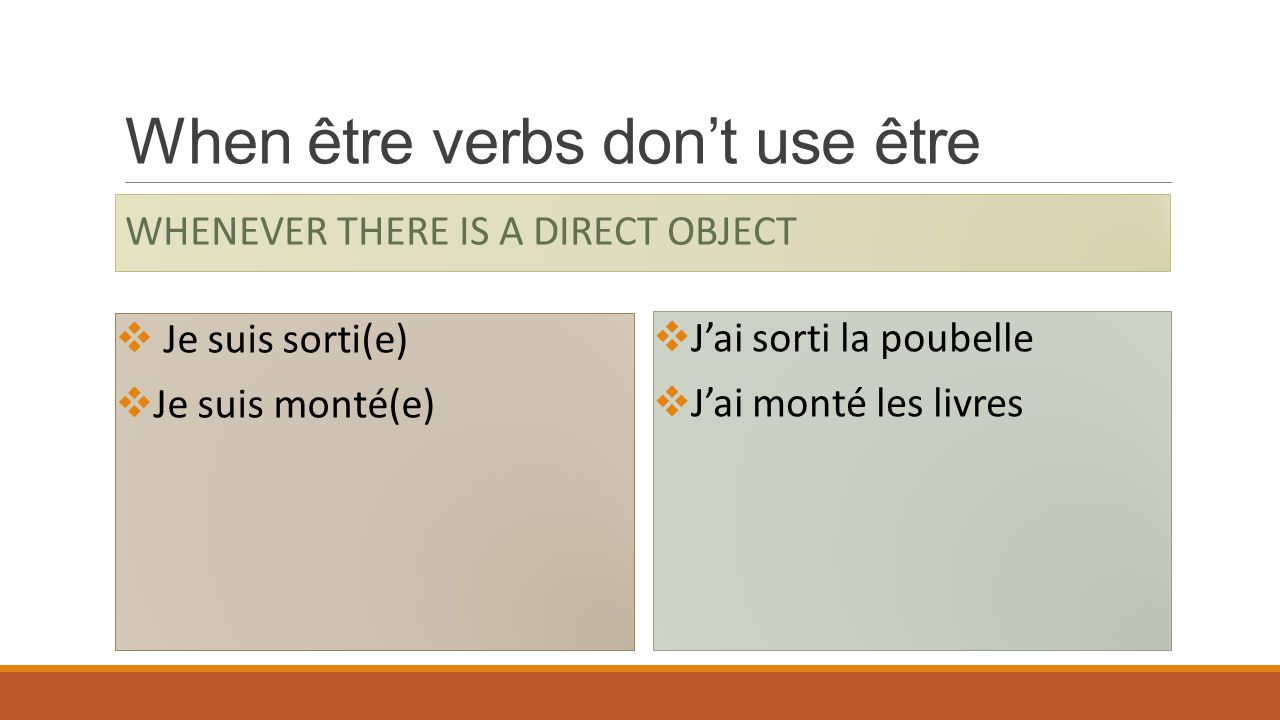 When être verbs don't use être