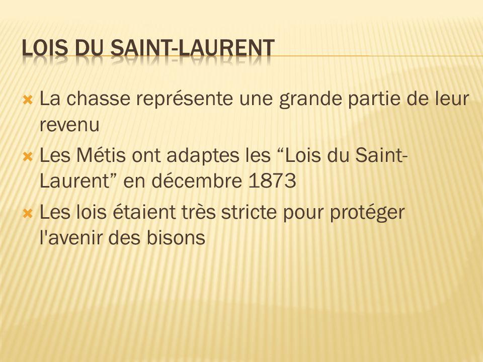 Lois du Saint-Laurent La chasse représente une grande partie de leur revenu. Les Métis ont adaptes les Lois du Saint-Laurent en décembre 1873.